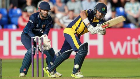 Jacques Rudolph on his way to making 60 not out against Essex in the T20 Blast in Cardiff