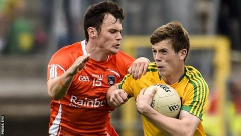Caolan McConville and Eoghan Ban Gallagher contend for possession