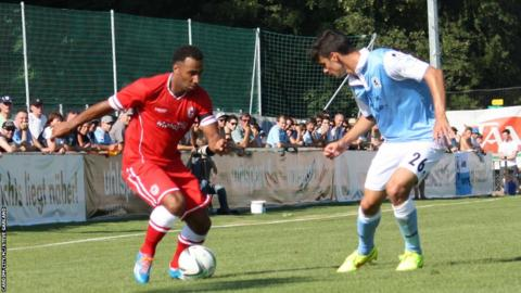 Cardiff City striker Nicky Maynard on the attack in his side's 3-2 win over 1860 Munich in Austria