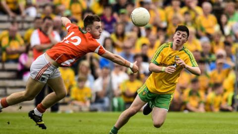 Kyle Mallon and Andrew McClean in action on a special day for Donegal at Clones