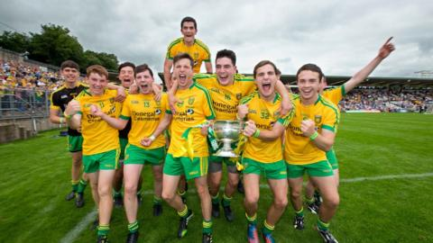 Donegal Minors celebrate after beating Armagh in the curtain-raiser to the Senior final