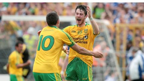 Ryan McHugh and Rory Kavanagh celebrate their Ulster success after the final whistle