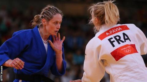 Sarah Clark faces Automne Pavia of France in the first round of the London 2012 Olympics