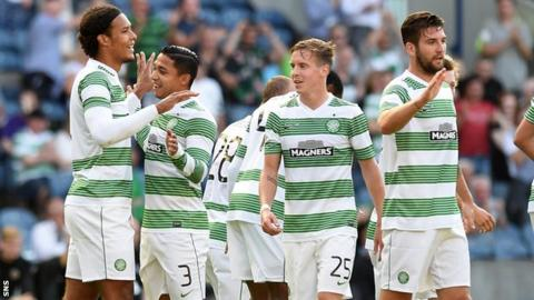 Virgil van Dijk, left, grabbed two goals as Celtic beat KR Reykjavik 4-0 on Tuesday for a 5-0 aggregate victory in the second round of Champions League qualifying