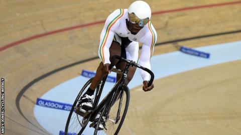 Ghana's Jeddie Amoako-Ackah in action in the velodrome at the 2014 Commonwealth Games