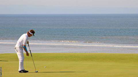 Bernhard Langer in action on the second tee on the second day at the Senior Open Championship at Royal Porthcawl.