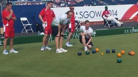 Jersey vs Guernsey in the men's triples bowls