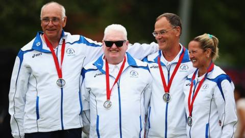 Scotland poses for their silver medal in the Mixed B2/B3 Pairs