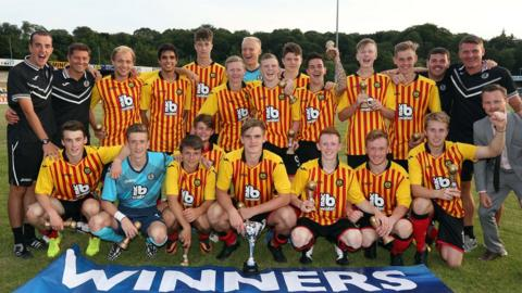 Partick Thistle players celebrate at winning the Under-19 tournament at the 2014 Foyle Cup