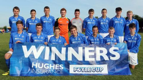 St Johnstone celebrate after beating Derry City in the final of the Under-17 tournament