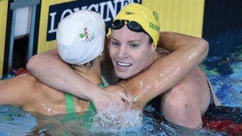 Australia's Emily Seebohm wins gold in the 100m backstroke
