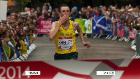 Australian Michael Shelley wins Commonwealth gold in the men's marathon in Glasgow.