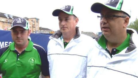 Northern Ireland's triples bowlers (from left) Paul Daly, Neil Mulholland and Neil Booth.
