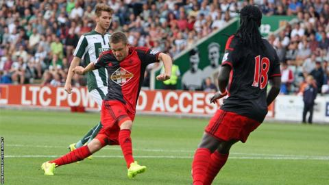 Gylfi Sigurdsson scored twice in Swansea City's 4-0 pre-season win at Plymouth Argyle.