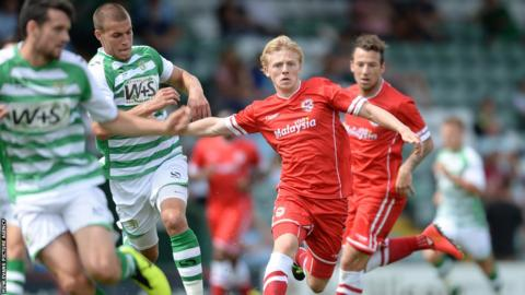 Mats Daehli featured in Cardiff City's 4-1 friendly win at Yeovil.