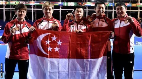 Singapore claim team gold in the men's table tennis