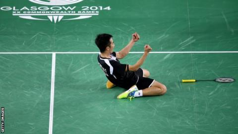 Chong Wei Feng celebrates after beating Rajiv Ouseph
