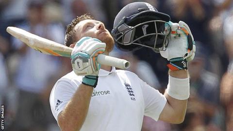 England's Ian Bell celebrates his century