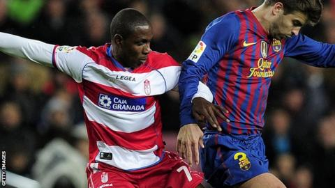 Odion Ighalo playing against Barcelona