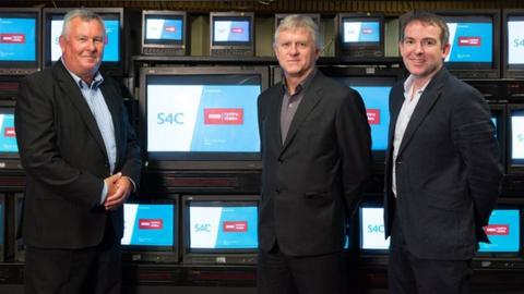 Jon Davis, Pro12 Rugby; Ian Jones, S4C Chief Executive; Rhodri Talfan Davies, Director BBC Cymru Wales