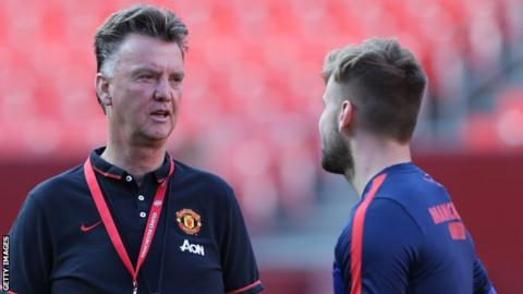 Manchester United manager Louis van Gaal and Luke Shaw