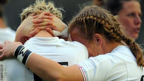 England full-back Danielle Waterman is consoled after their 2010 World Cup final defeat by New Zealand