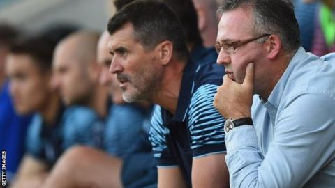 Aston Villa's coaching staff Roy Keane and Paul Lambert