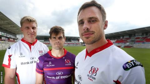 Franco van der Merwe, Louis Ludik and Tommy Bowe of Ulster