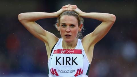 Queen's University athlete Katie Kirk improved her personal best to 2:02.63 in the women's 800m semi-finals at Hampden Park