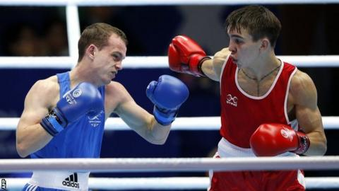 Sean McGoldrick in action against Michael Conlan