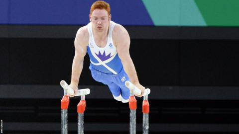 Dan Purvis won his third medal of the Games with a fantastic display on the parallel bars.
