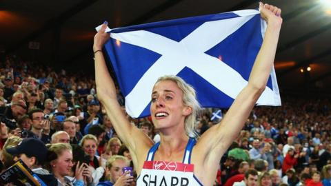 Scotland's Lynsey Sharp after winning silver in the 800m