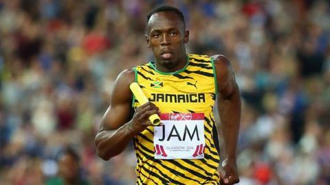Jamaica's Usain Bolt in the men's 4x100m heat
