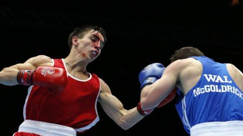 Michael Conlan was declared the winner on points after his bantamweight semi-final against Sean McGoldrick of Wales was stopped when the Northern Ireland boxer sustained a cut