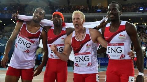 Matthew Hudson-Smith, left, anchors England to an incredible win in the 4x400m relay