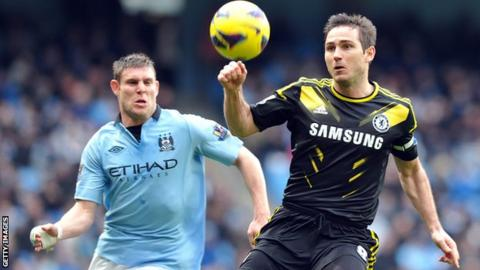 Frank Lampard playing for Chelsea against Manchester City in the 201-13 season