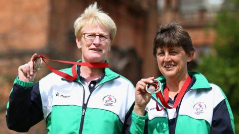 Barbara Cameron and Mandy Cunningham won bronze medals in the Lawn Bowls women's pairs by beating Jersey in a play-off