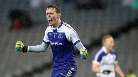 Monaghan goalkeeper Rory Beggan celebrates after his side scored their second goal of the game against Kildare in extra-time