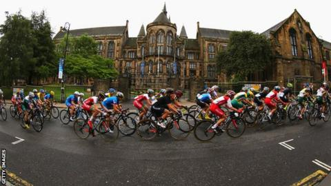 Action from the women's road race on Sunday