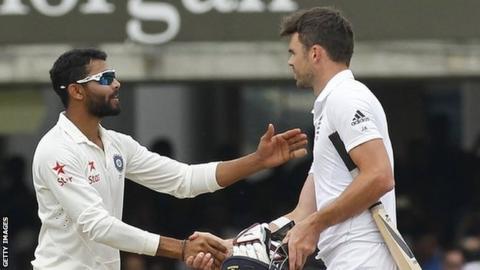 India all-rounder Ravindra Jadeja (left) and England bowler James Anderson