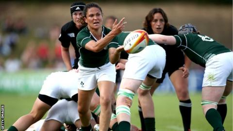 Tania Rosser of Ireland releases the ball during the IRB Women's Rugby World Cup Pool B match between New Zealand and Ireland at the World Cup.