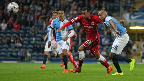 Cardiff City striker Nicky Maynard goes past Blackburn's Alex Baptiste during his side's 1-1 draw at Ewood Park