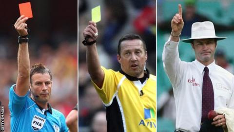Football referee, rugby referee and cricket umpire