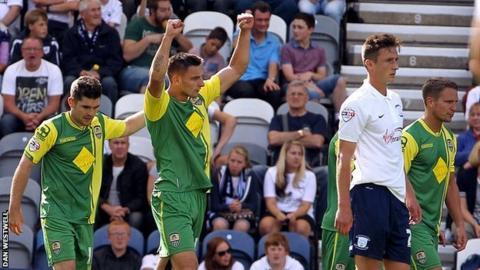 Notts County celebrate Jake Cassidy's goal against Preston