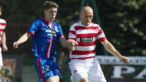 Inverness' Ryan Christie (left) goes up against Hamilton player-manager Alex Neil