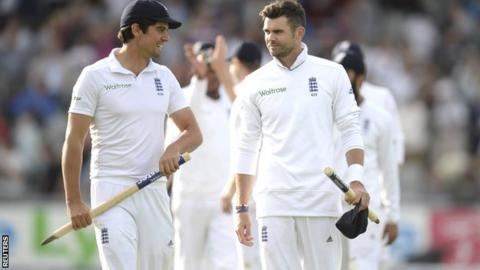 England captain Alastair Cook with James Anderson