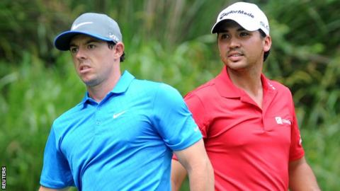 Rory McIlroy and Jason Day during the 3rd day of the US PGA