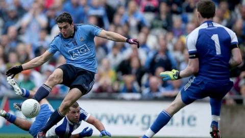 Dublin forward Bernard Brogan scores his side's second goal in their convincing 2-22 to 0-11 victory over Monaghan in the All-Ireland quarter-final at Croke Park