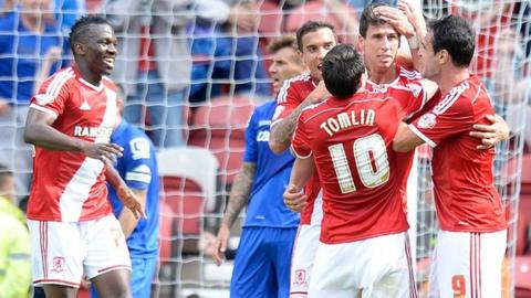 Middlesbrough players celebrate Daniel Ayala's goal