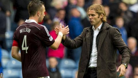 Hearts captain Danny Wilson and head coach Robbie Neilson